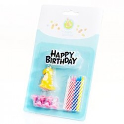 Birthday Cake Topper & Orange Dino Candle Set