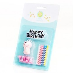 Birthday Cake Topper & Piggie Candle Set