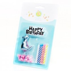 Birthday Cake Topper & Grey Dino Candle Set