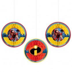 Incredibles 2 Honeycomb Decoration, 3pcs