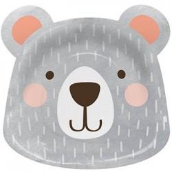 "Birthday Bear 9"" Paper Plate, 8pcs"