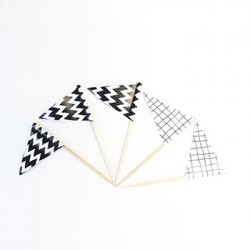 Cupcake Topper - Black & White Pattern, 40pcs