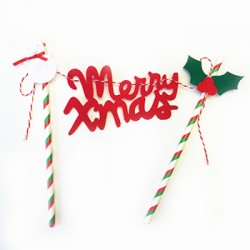 Cake Topper with Paper Straw - Merry Christmas