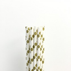 Paper Straw - Metallic Gold Dots, 25pcs