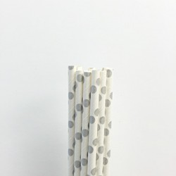 Paper Straw - Metallic Silver Dots, 25pcs