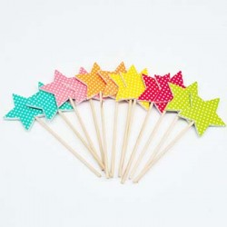 Cupcake Topper - Star with Dots, 12pcs