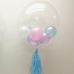 """24"""" Clear Deco Bubble Stuffing Balloon (with tassel & weight)"""