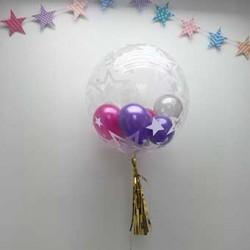 "24"" Stylish Stars Bubble Stuffing Balloon (with tassel & weight)"