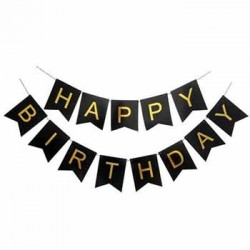 Bunting - Black & Gold Happy Birthday Fish Tail