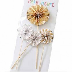 Cake Topper - Pinwheel Gold  (set of 4)