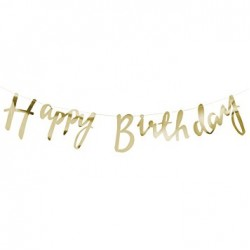 Bunting - Happy Birthday Glitter Gold
