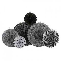Pinwheel Decoration Set - Black (set of 6)