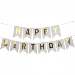 Bunting - White & Gold Happy Birthday Fish Tail