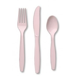 Plastic Cutlery Combo - Classic Pink, 24pcs