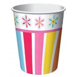 Pink Flower 9oz Paper Cup, 8 pcs