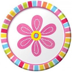 "Pink Flower 7"" Paper Plate, 8pcs"