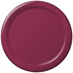 "Burgundy 9"" Paper Plate, 24pcs"