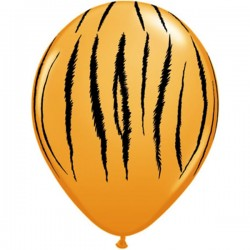 "11"" Round Safari - Tiger Stripes Latex Balloon (with helium)"