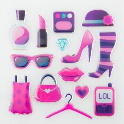 Glitter Sticker - Fashion Girl, 1 sheet