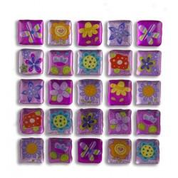 Glitter Sticker - Floral, 1 sheet