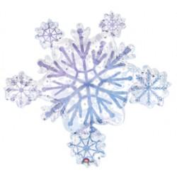 """Prismatic Snowflake Cluster Foil Balloon - 32"""" W x 30"""" H"""
