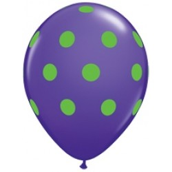 """11"""" Round Big Lime Green Polka Dots Violet Latex Balloon (with helium)"""