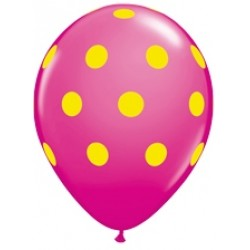 "11"" Round Big Warm Yellow Polka Dots Wild Berry Latex Balloon (with helium)"