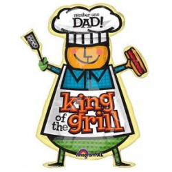 "Dad King Of The Grill Supershape Foil Balloon - 28"" W x 36 "" H"