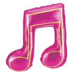 """Music Note: Two Quavers in Pink Foil Balloon - 34"""" W x 31"""" H"""