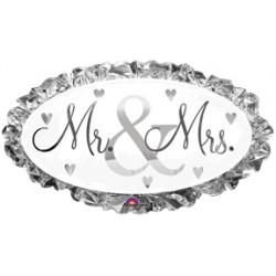 """Mr. & Mrs. Foil Balloon - 34"""" W x 23"""" H"""