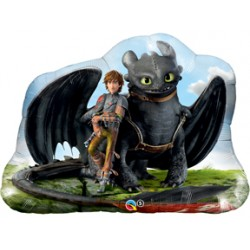 "How To Train Your Dragon 2: Hiccup & Toothless Foil Balloon - 32"" W x 27"" H"