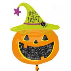 "Witch Hat Pumpkin Foil Balloon - 27"" W x 44"" H"