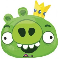 "Angry Birds: Green Pig Foil Balloon - 23"" W x 23"" H"