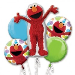Sesame Street Elmo Style Foil Balloon Bouquet of 5 (with weight)