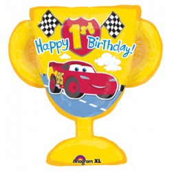 "Cars 1st Birthday Foil Balloon - 33"" W x 32"" H"