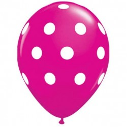 "11"" Round Big White Polka Dots Wild Berry Latex Balloon (with helium)"