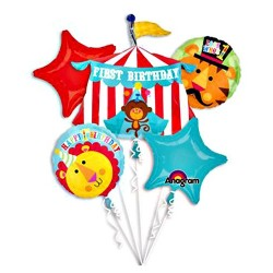 Fisher Price 1st Birthday Circus Foil Balloon Bouquet of 5 (with weight)