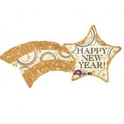 "Happy New Year Shooting Gold Star Foil Balloon - 48"" W x 21"" H"