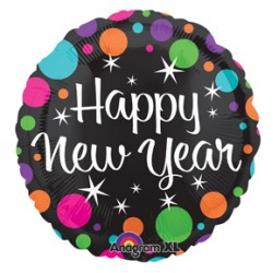"Happy New Year Colorful Dots 21"" Foil Balloon"