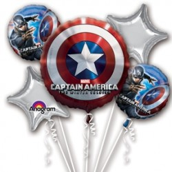 Captain America Winter Soldier Foil Balloon Bouquet of 5 (with weight)