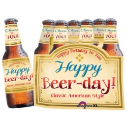 "Happy Beer- day Six Pack Foil Balloon - 24"" W x 32"" H"