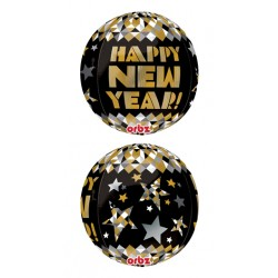 "New Year Gold Patterns Orbz Foil Balloon - 15"" W x  16"" H"