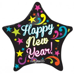"Neon Bright New Year 21"" Star Foil Balloon"
