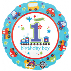 "All Aboard Bday 17"" Foil Balloon"