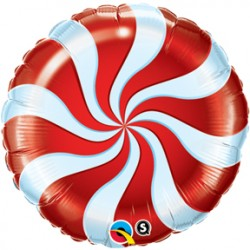 "Candy Swirl 18"" Red Foil Balloon"