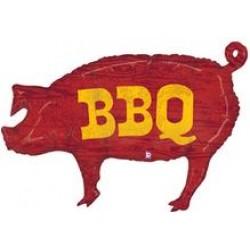 """BBQ Pig Foil Balloon - 35"""" W x 25"""" H"""