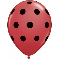 "11"" Round Big Black Polka Dots Red Latex Balloon (with helium)"