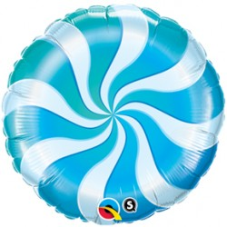 "Candy Swirl 18"" Blue Foil Balloon"