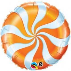 "Candy Swirl 18"" Orange Foil Balloon"