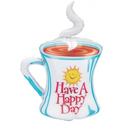 "Happy Day! Coffee Cup Foil Balloon - 27"" W x 39"" H"